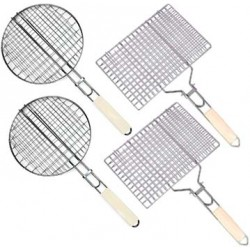 Set of Hand-Held BBQ Grills (2 round, 2 square)
