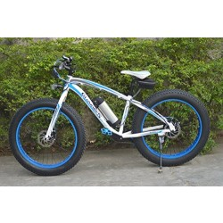 Fat Tire Electric Mountain Bike - blue