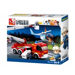 Fire Truck w/Cherry Picker Arm + Helicopter (394 pcs)