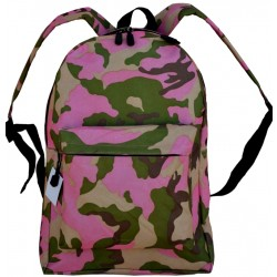 "Pink Camouflage Backpack - 17"" x 13"" x 7"""