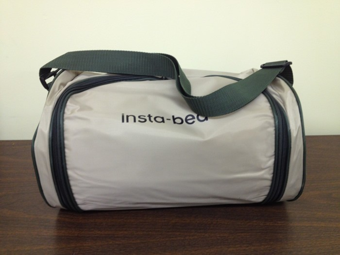image of instabed raised queen air mattress with never flat