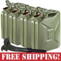 "4 Used NATO ""Jerry"" 20 Liter Steel Fuel Cans + 1 New NATO Gas Can Nozzle"