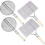 Set of 4 Hand-Held BBQ Grills (2 round, 2 square)
