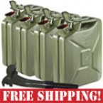 """4 Used NATO """"Jerry"""" 20 Liter Steel Fuel Cans + 2 New NATO Gas Can Nozzles"""